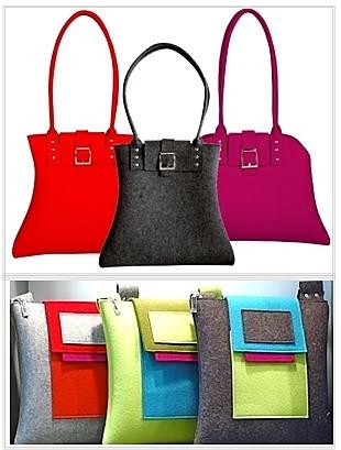 Die Tasche stylische Filztaschen aus buntem Wollefilz
