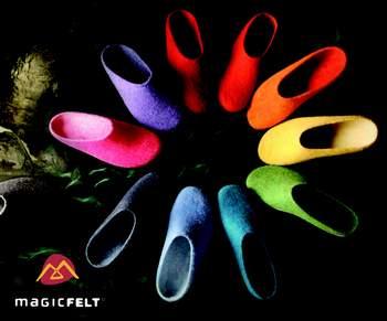 Filzschuhe in leuchtenden Farben > Die Welt der Schuhe