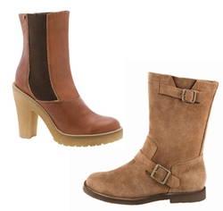 Neue Schuhe im Herbst und Winter 2009/2010 in natürlichen Lederfarben mit robusten Sohlen und Spangen